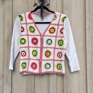 Anthropologie One Girl Who Crochet Zip Up Sweater